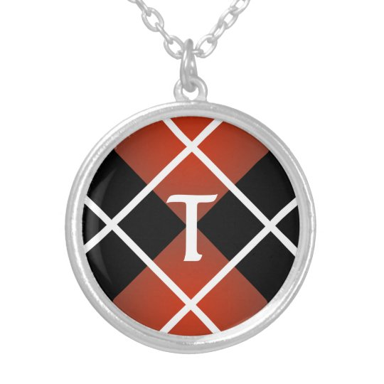 Cute Sporty Red White Black Argyle Monogrammed Silver