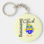 Cute Sporty Swimming Chick Basic Round Button Key Ring