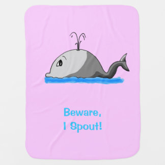 Cute Spouting Cartoon Whale Baby Blanket