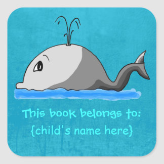 Cute Spouting Whale - Book Belongs To Square Sticker