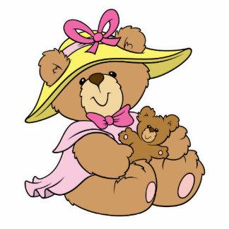 Cute Spring Bonnet Teddy Bear Photo Cut Out