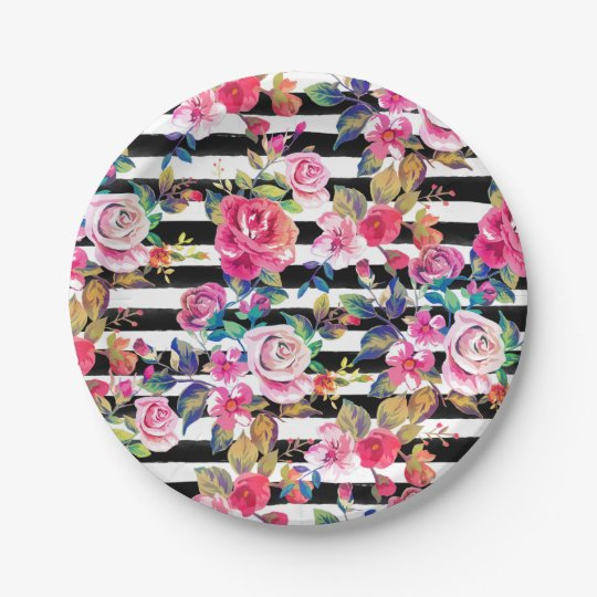 Cute spring floral and stripes watercolor pattern paper