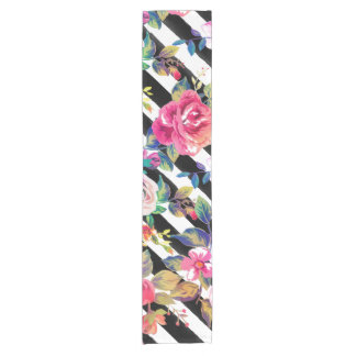 Cute spring floral and stripes watercolor pattern short table runner