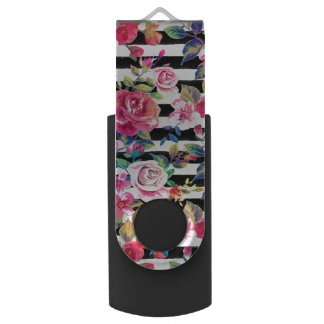 Cute spring floral and stripes watercolor pattern USB flash drive