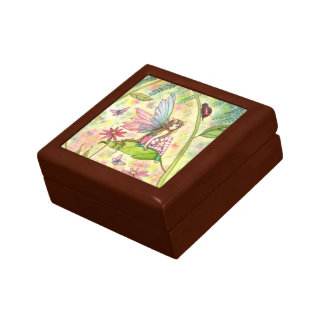 Cute Spring Flower Fairy and Ladybug Small Square Gift Box