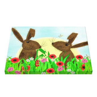 Cute Spring Flowers And Playful Hares Illustrated Canvas Print