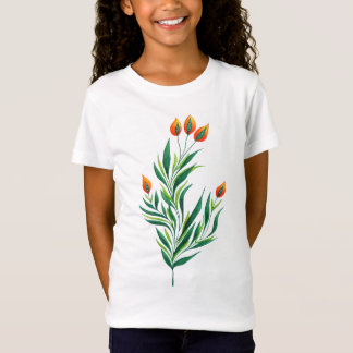 Cute Spring Green Plant With Orange Buds T-Shirt