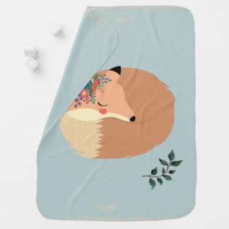 Cute Spring Leaves and Fox Woodland Baby Blanket