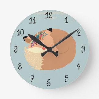 Cute Spring Leaves and Fox Woodland Round Clock