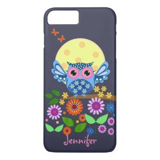 Cute spring Owl & custom Name iPhone 8 Plus/7 Plus Case