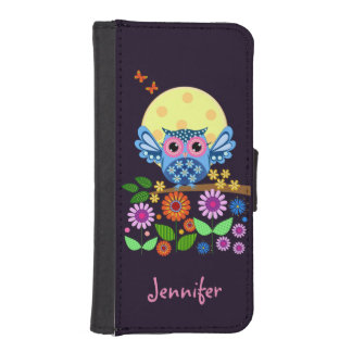 Cute spring Owl & custom Name iPhone SE/5/5s Wallet Case