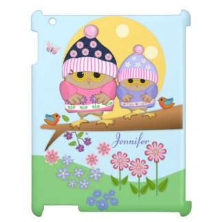 Cute spring owls and custom name cover for the iPad