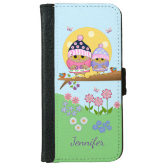 Cute spring owls and custom name iPhone 6 wallet case
