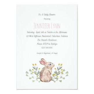 Cute Spring Woodland Bunny Baby Shower Invitation