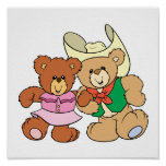 cute square dancing teddy bears design poster