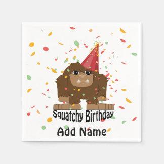 Cute Squatchy Birthday Bigfoot Disposable Serviette