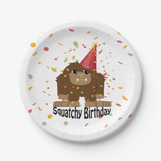 Cute Squatchy Birthday Bigfoot Paper Plate
