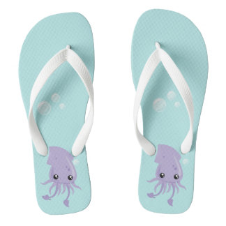 Cute Squid Flip Flops, Adult Flip Flops