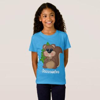 Cute Squirrel add name kids t-shirt