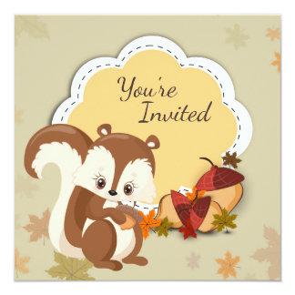 Cute Squirrel and Acorns Autumn Birthday Invite