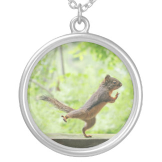 Cute Squirrel Doing Tai Chi Silver Plated Necklace