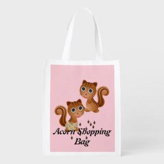 Cute Squirrel Girl Boy Reusable Shopping Bag Grocery Bag