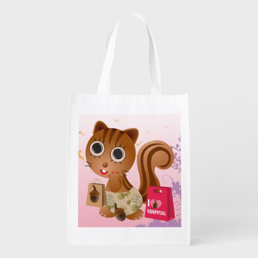 Cute Squirrel Girl going Shopping Reusable Bag Grocery Bags