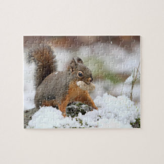 Cute Squirrel in Snow with Peanut Jigsaw Puzzle