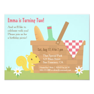 Cute Squirrel Park Picnic Kids Birthday Party 4.25x5.5 Paper Invitation Card
