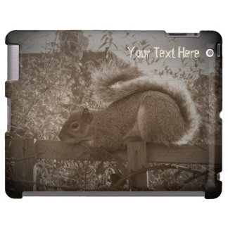 cute squirrel sleeping on garden fence sepia iPad case