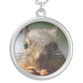Cute Squirrel Smiling Photo Silver Plated Necklace