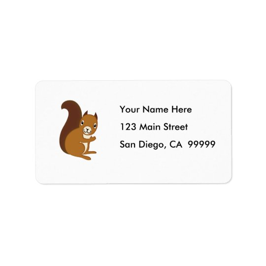Cute Squirrel Waving at You Address Label