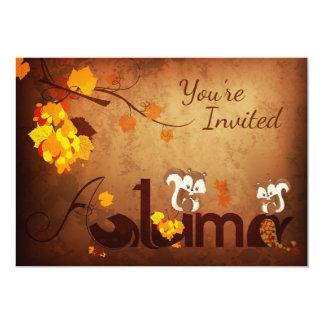 Cute Squirrels Autumn Fall Birthday Invitation