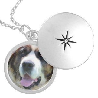 Cute St. Bernard Round Locket Necklace