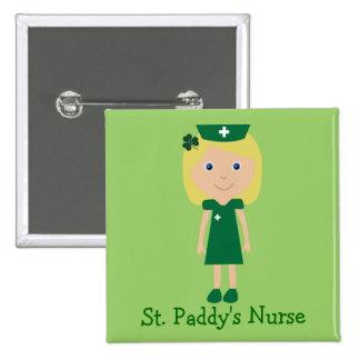Cute St. Paddy's Nurse Cartoon Character 15 Cm Square Badge