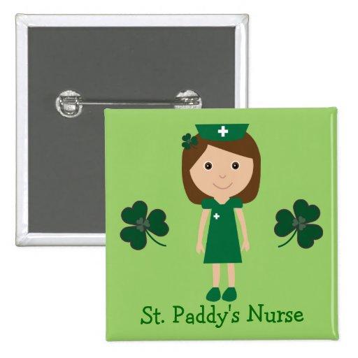 Cute St. Paddy's Nurse Cartoon Character Pinback Button