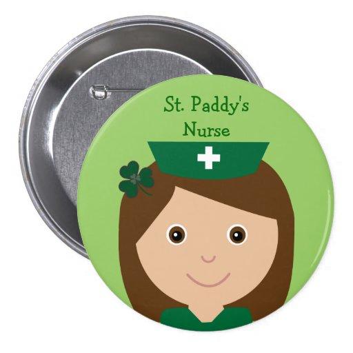 Cute St. Paddy's Nurse Cartoon Character Pin
