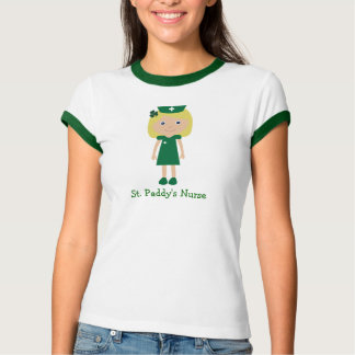 Cute St. Paddy's Nurse Cartoon Character T-Shirt