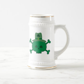 Cute St Paddy's Pirate Skull Shiver Me Shamrocks Beer Stein