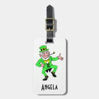 Cute St Patrick s Day Dancing Leprechaun Travel Bag Tags