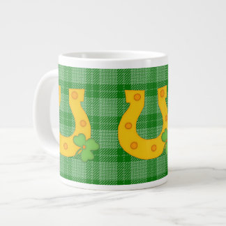 Cute St Patrick s Day Plaid with Horse Shoe Extra Large Mugs