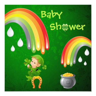 Cute St. Patrick's Day Baby Shower 13 Cm X 13 Cm Square Invitation Card