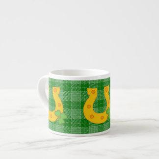 Cute St. Patrick's Day Plaid with Horse Shoe Espresso Mug