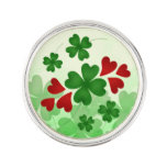Cute St Patricks Day shamrock and red hearts