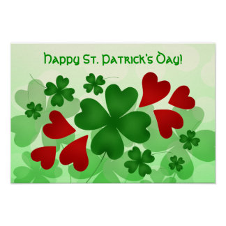 Cute St Patricks Day shamrock and red hearts Poster