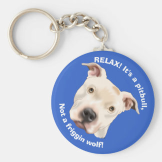Cute Staffordshire Terrier Pitbull Puppy Basic Round Button Key Ring