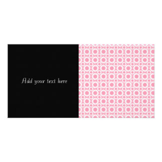 Cute Star Flowers Pattern Pink and White Customized Photo Card