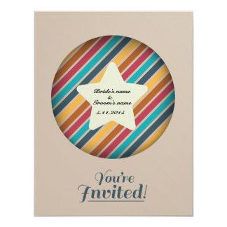 Cute star stripe wedding invitation card