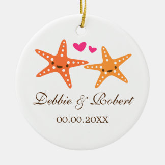 Cute starfish bride and groom wedding photo christmas ornament