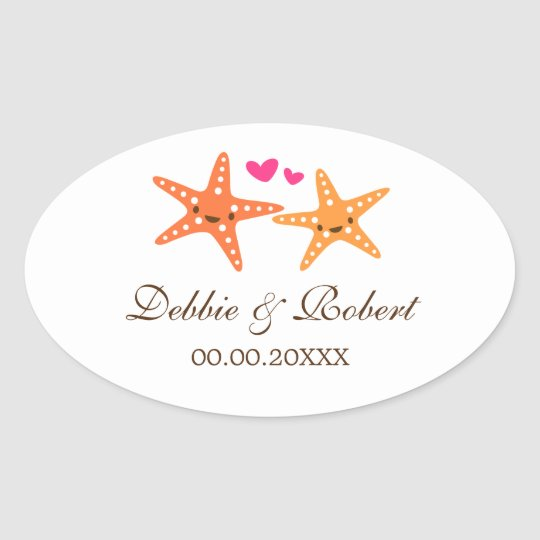 Cute starfish bride and groom wedding stickers